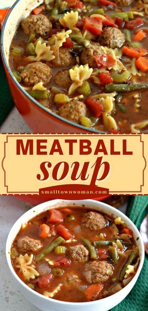 This dinner idea can be on your table in under 40 minutes! Combined with vegetables, pasta, and Italian spices in a hearty broth, this easy Meatball Soup recipe is the perfect comfort food for weeknights. Quick and easy, yet delicious!