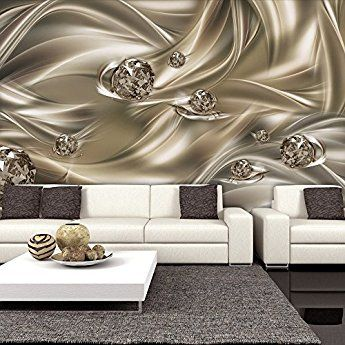 Tapete Vlies Fototapete abstraktes Muster moderne goldene Wellen