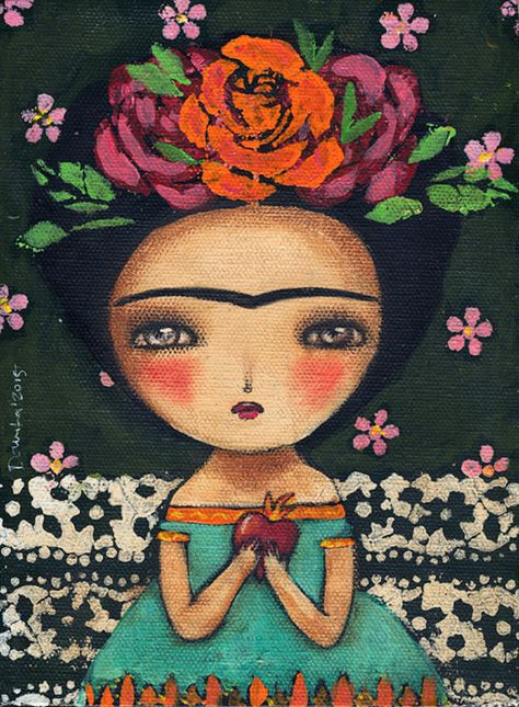 Burning heart Frida, an original painting by Danita Art