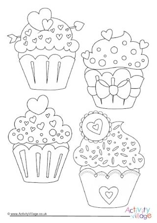 Heart Cupcakes Colouring Page 2 Coloring Pages Heart Cupcakes