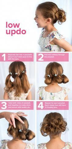 Easy Low updo hairstyle for kids. Must try! rhythmicfitcali.com #UpdoHairstyles