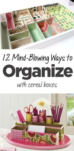 12 Mind-Blowing Ways to Organize with Cereal Boxes • Organization Junkie Organisation Hacks, Craft Organization, Craft Storage, Storage Ideas, Bedroom Organization Diy, Cereal Box Organizer, Diy Organizer, Organize Your Life, Organizing Your Home