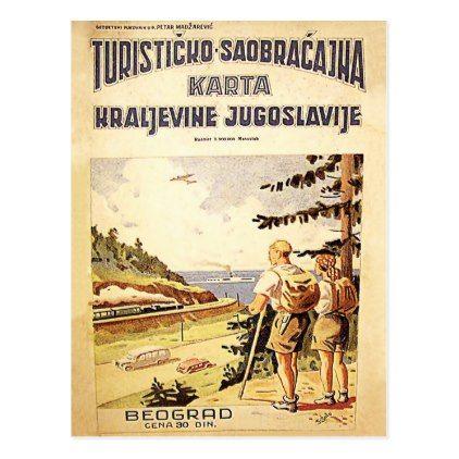 Tourist Map Of Yugoslavia Belgrade Vintage Cover Postcard