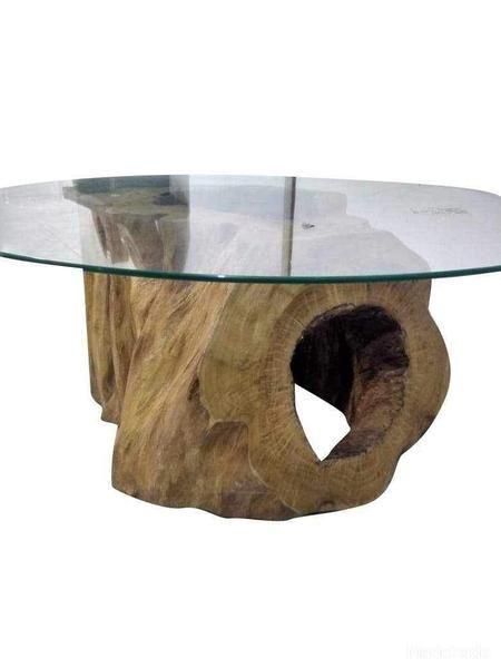 Mesa De Centro Rustica Modelos Com Vidro Tronco Redonda E