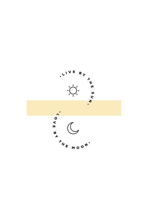 Live by the sun, love by the moon. Quote with luna and sun icon illustrations and minimal typography layout.