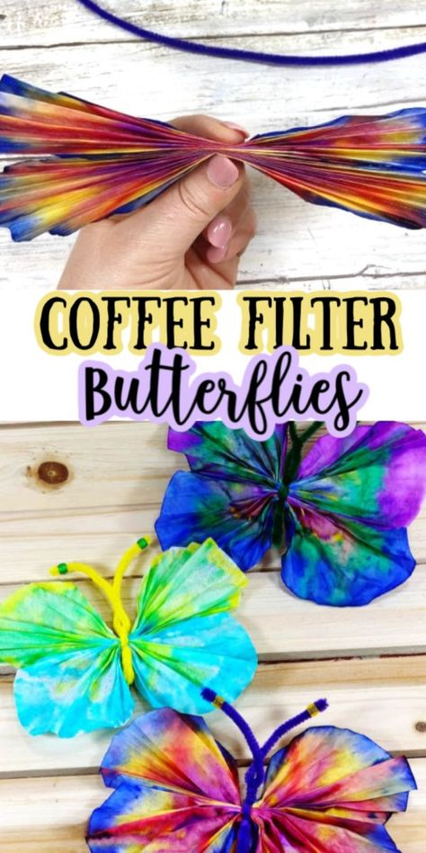 These Coffee Filter Butterflies are a fun and easy craft idea for spring Fun kids activity and super inexpensive too Create your own butterfly garden with these coffeefilter easycrafts butterflies - Spring Crafts For Kids, Diy For Kids, Art Ideas For Teens, Art Projects For Adults, Toddler Art Projects, Simple Kids Crafts, Fun Things For Kids, Simple Craft Ideas, Summer Crafts For Preschoolers
