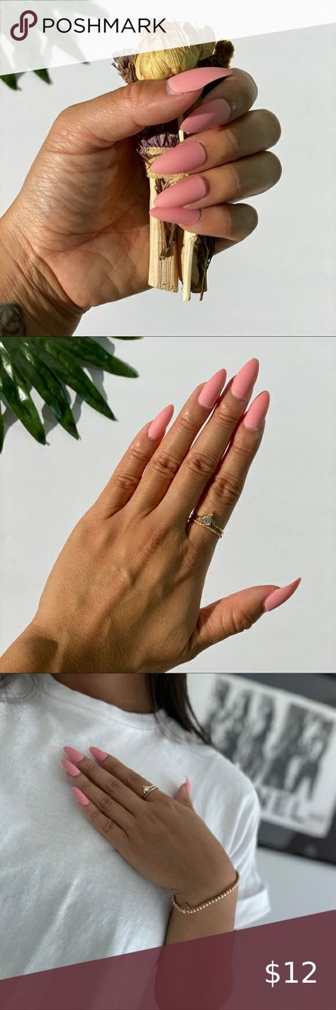 Press On Glue Nails - Almond Shape - Peachy Pink Brand New DIY Press On Nails Manicure in minutes Convenient and cost effective  Kit includes: 24 Universal Nails in 12 sizes 1 Glue Other
