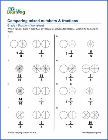 Grade 4 Fractions Worksheet Comparing Mixed Numbers And Fractions Fractions Worksheets Improper Fractions Fractions