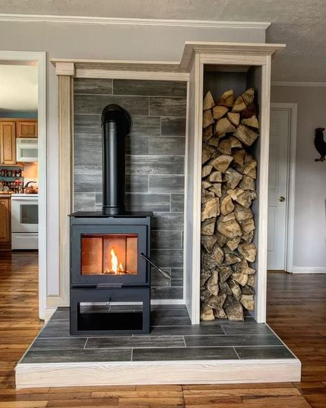 This is probably my favorite house project to date. Dave and I bought ourselves a wood stove for Christmas. It took me 3 weekends to build… Wood Stove Surround, Wood Stove Hearth, Wood Stove Wall, Stove Fireplace, Future House, My House, House Goals, Home Projects, Garden Projects