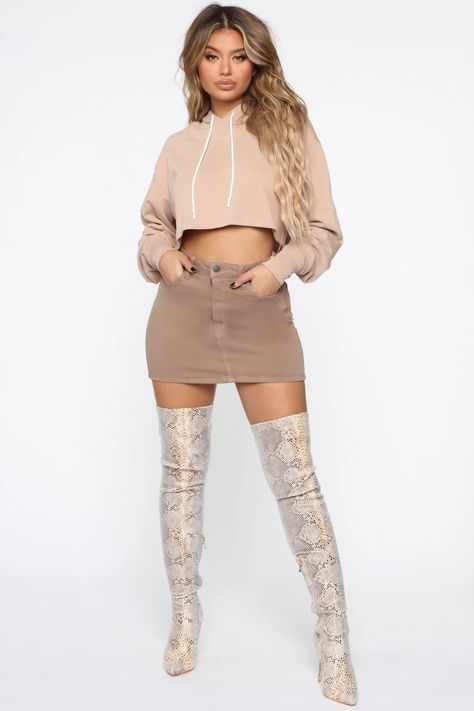 Thought You were Chill Crop Hoodie - Mocha – Fashion Nova