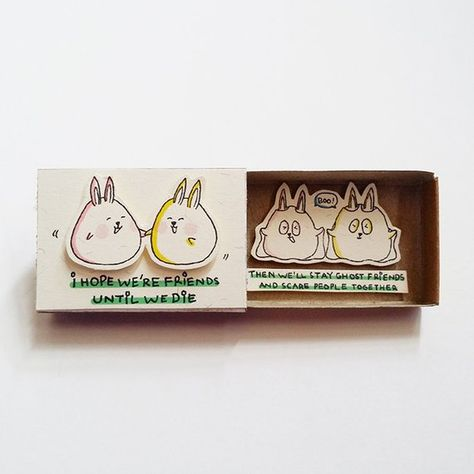 """Unique Friendship Matchbox - Soulmate gift box - Cute Gift for friends - Rabbit greeting cards - """"I"""