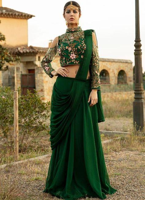 Emerald Green Lehenga Style Saree