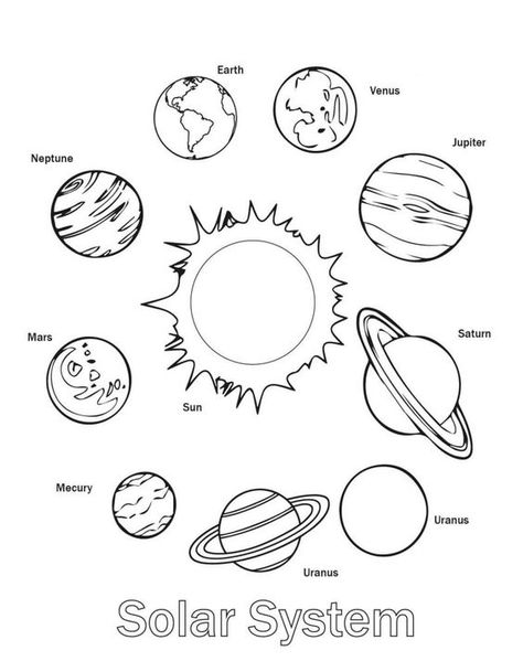 Solar System Coloring Pages For Kids. Here you can find the different planets our solar system in the Solar System coloring pages. The solar system is a planeta Solar System For Kids, Solar System Crafts, Solar System Planets, Planetary System, Solar System Art, Kids Solar System Projects, Solar System Model Project, Solar System Images, Planet Coloring Pages