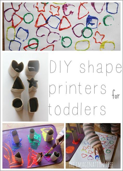 Cardboard tube shape printers for toddler art