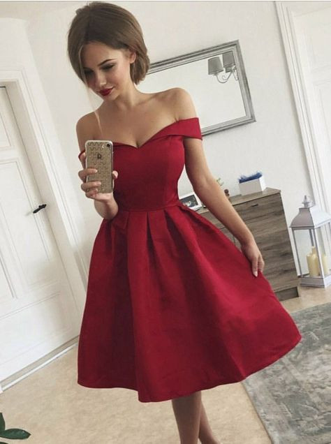 a074b086621 Elegant Off-the-Shoulder Pleated Red Satin Short Prom Dress