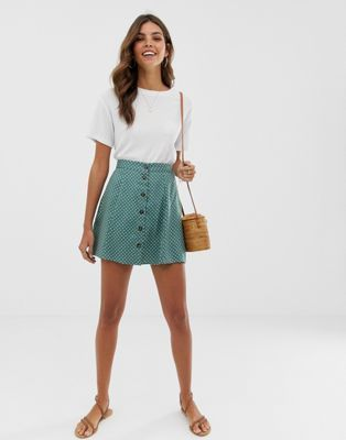 ASOS DESIGN button front mini skirt in green polka dot | ASOS  - Mini Skirts - Ideas of Mini Skirts #MiniSkirts