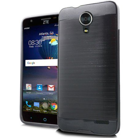Black Brushed Metal Double Layered Case For Zte Zfive 2 Prestige