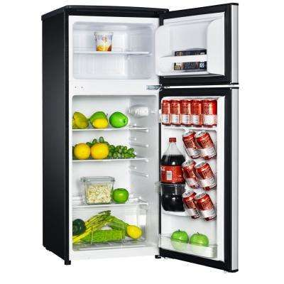 Magic Chef 4 5 Cu Ft 2 Door Mini Fridge In Stainless Look With Freezer Hmdr450se The Home Depot In 2020 Mini Fridge Magic Chef Compact Refrigerator