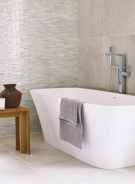 20mm ivory quartz solid surface worktop, salino three hole basin mixer,  taupe brick bathroom wall tiles and bohemian blues bathroom floor tiles #do…