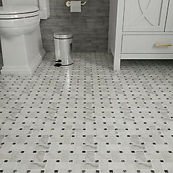 Daltile Finesse Satin White With Black Dot 10 Inch X 12 Inch X 6 Mm Glazed Porcelain Hex The Home Depot Canad Black Floor Tiles Hexagonal Mosaic Daltile