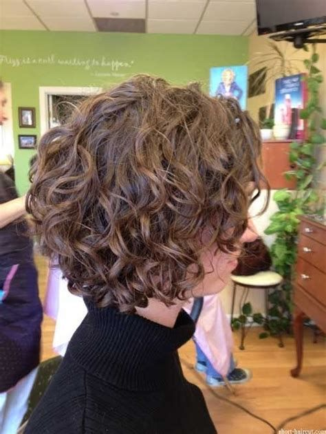 Short Stacked Bob Hairstyle For Fine Curly Hair Short Curly Hairstyles For Women Curly Hair Styles Short Hair Styles