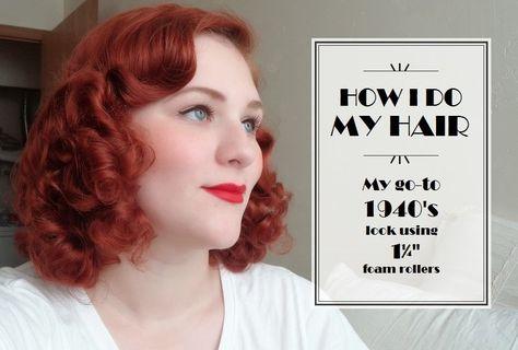 Evie's Tea Room - How I do my Hair; My go-to 1940's look using 1¼ foam rollers
