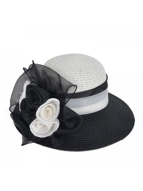 0b60948e60f Women s Straw Cloche Hat Ribbon Flower Bucket Bridal Church Derby Cap -  Black - CC12LT2WERV - Hats   Caps