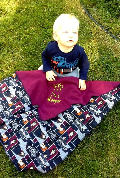 Harry Potter Inspired Fleece Baby Blanket - Personalized name - I'm a Keeper -  Baby shower gift - u