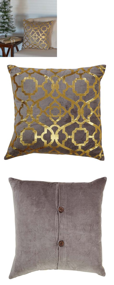 Gold Foil PILLOW 40X40 Majolical Pattern Over A GreyTaupe Velvet Mesmerizing Grey Decorative Bed Pillows