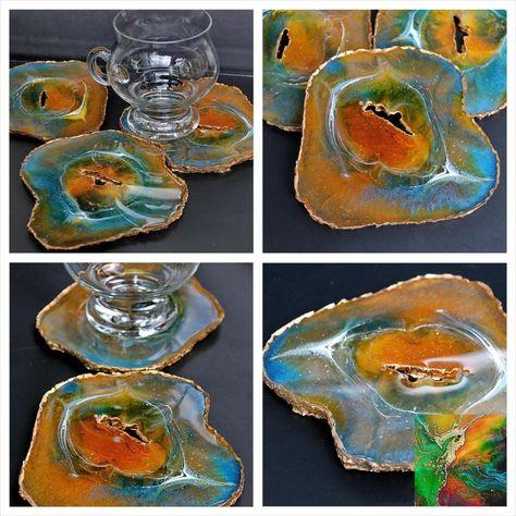 Set Of Epoxy Resin Geode Inspired Coasters, Abstract Resin Painting, Modern Art, Home Decor. #HomeAndLiving #BarwareDrinkware #GiftSet #ResinArt #GeodeCoaster #drinkware #BlueGreenYellow #EpoxyResinCoaster #homedecor #KitchenDining
