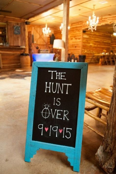 The Hunt Is Over Country Rustic Wedding Sign / http://www.deerpearlflowers.com/rustic-barn-wedding-ideas/