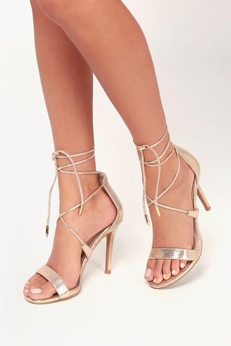 Aimee Champagne Metallic Lace Up Heels | Champagne heels