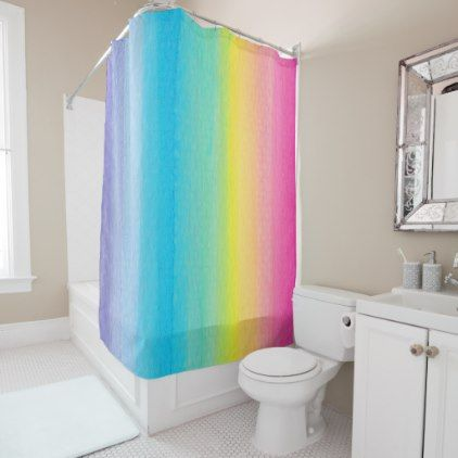 Pretty Watercolor Rainbow Shower Curtain Zazzle Com Green