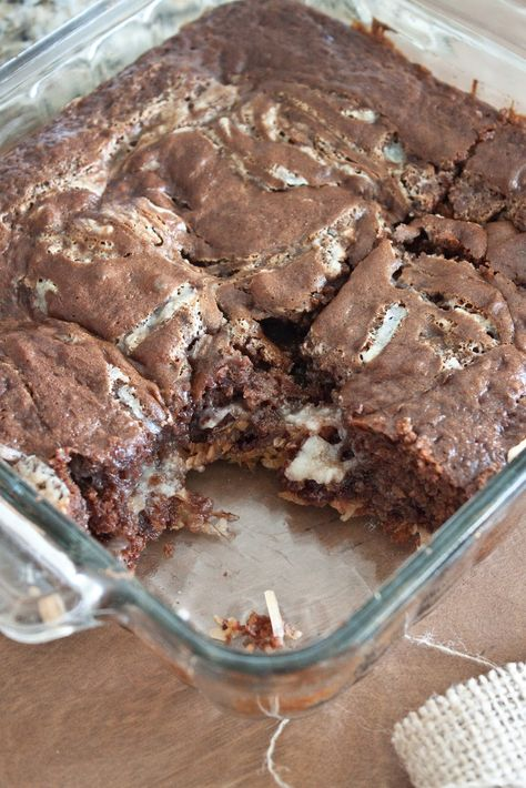 Earthquake Cake..The cake is from a German Chocolate Cake mix and has a layer of gooey, coconut and chocolate chips on the bottom....