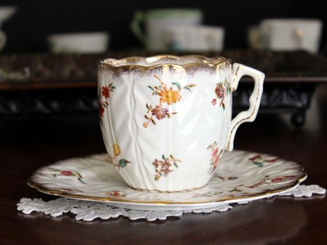 Large Antique Cup and Saucer, Coffee or Teacup, Vintage Porcelain 13659
