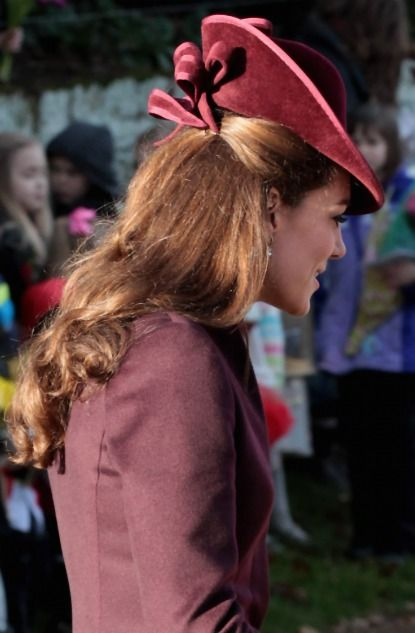 Duchess Catherine's Christmas Hairstyle -- the angle of her velvet hat is perfect, and it's completely appropriate for Christmas mass!