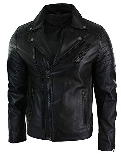 Men Genuine Real Leather Jacket Slim Fit Vintage Biker Jacket Black Retro