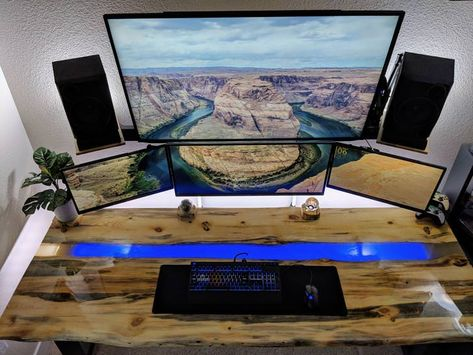 Epic Custom Built Wood and Resin River Desk Setup - Album on Imgur