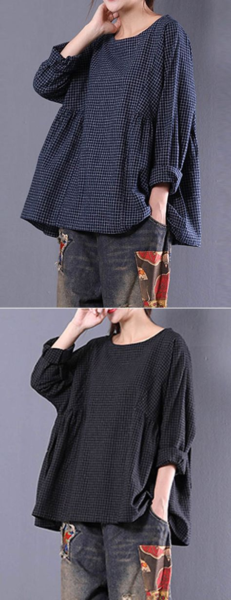 Loose Plaid Long Sleeve O-Neck Blouse For Women