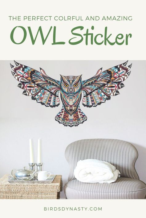 Custom Wall Clock Sacred Owl Design Art Patterns Colorful Wisdom Bird