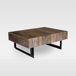 Emmerson Reclaimed Wood Block Coffee Table Natural In 2020 Coffee Table Wood Iron Storage Coffee Table With Storage