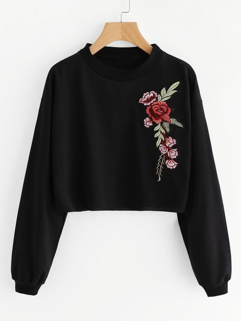 Romwe Embroidered Rose Applique Sweatshirt