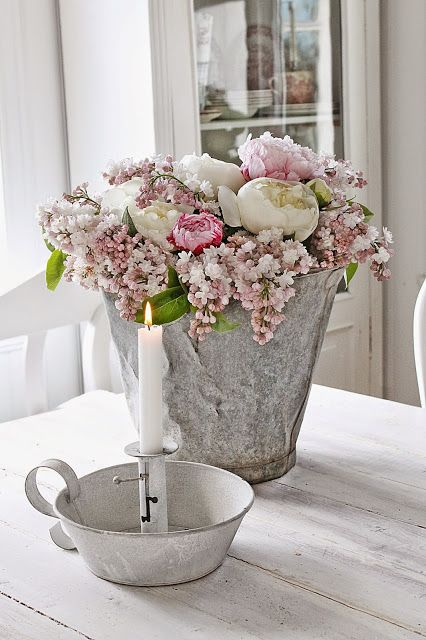 HAC24 Kunstblumen Arrangement K/ünstliche Blumen Dekoration in Glasvase Blumendekoration Kunstpflanze Kunstblumen Deko