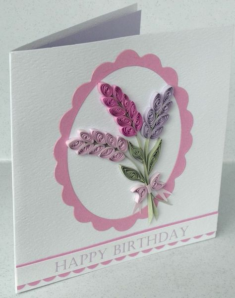 Quilled birthday card paper quilling lavender