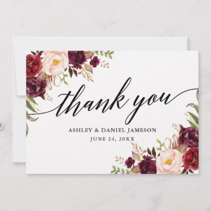 Wedding Calligraphy L Burgundy Floral Thank You Card Zazzle Com