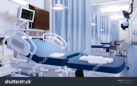 Close Up Of Empty Hospital Bed And Various First Aid Medical Equipment In Emergency Room Of Modern Clinic With No Peop Hospital Bed Hospital Medical Equipment