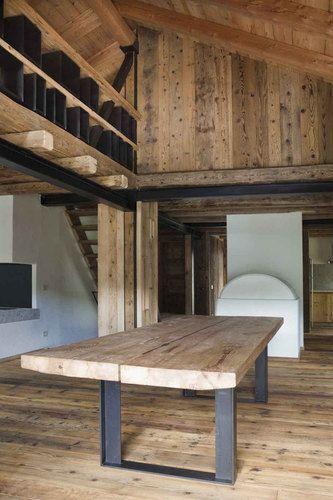 tavolo legno e gambe ferro