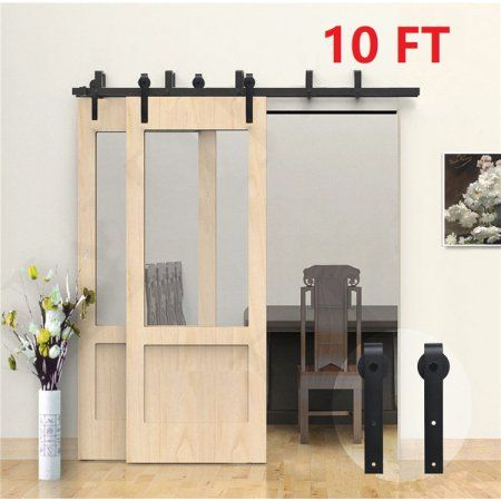 10 Ft Sliding Barn Door Kit Heavy Duty Barn Door Hardware For Home Decor Black Bypass Barn Door Interior Barn Doors Sliding Door Hardware
