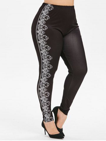 Printed High Waisted Plus Size Jeggings
