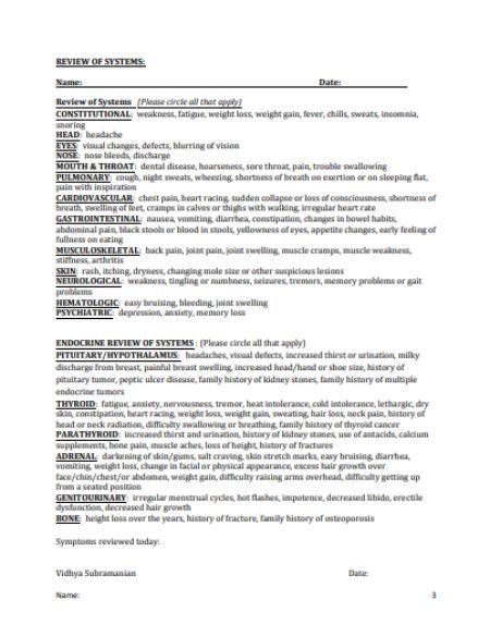 Review Of Systems Template 20 Different Types Of Best Templates In Pdf And Word Document Templat Review Of Systems Neurological System Nursing Documentation
